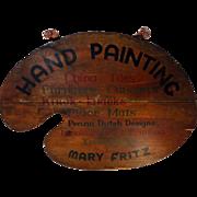 Vintage 2 Sided Artist's Palette Wooden Trade Sign