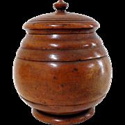 "19th C. Peaseware Treen Sugar Bowl 7"" Tall"