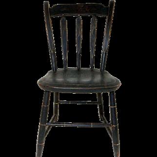 19th C. Child's Arrowback Windsor Chair w/ Original Paint Decoration.