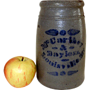 Western PA Wax Sealer Stoneware Canning Crock Mc Carthey & Bayless Louisville, KY
