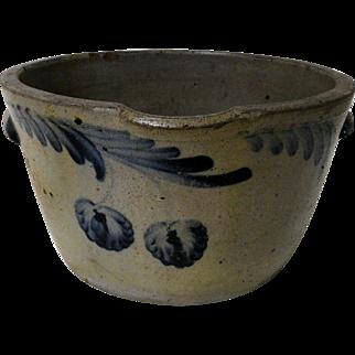 Huge 19th C. Blue Decorated Stoneware Milk Bowl