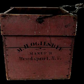 Wooden Egg Carrier in Original Mauve Paint Weedsport, NY