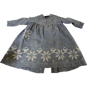 19th C. Little Girl's Blue and White Homespun Dress