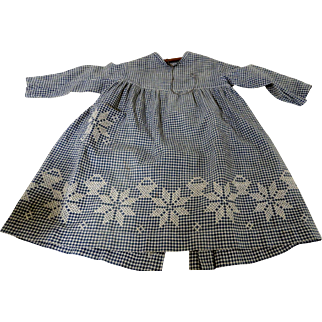19th C. Little Girl's Blue and White Homespun Dress