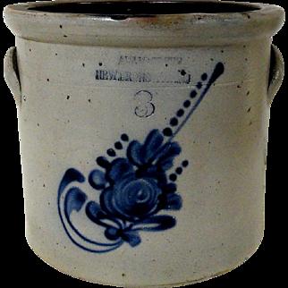 Extremely Rare Blue Decorated NJ Stoneware Crock Adam Green