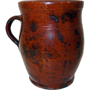 19th C. Manganese Decorated Handled PA Redware Crock
