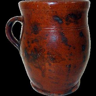 19th C. Manganese Decorated Handled PA Redware Crock