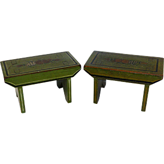 Pair of Signed Pennsylvania Paint Decorated Footstools