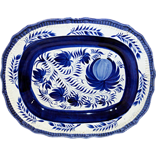 Early English Feather Edge Pearlware Platter with Hand Painted Decoration