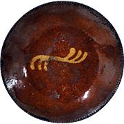 19th C. PA Redware Pie Plate with Slip Decoration