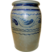 19th C. Western PA Blue Decorated Stoneware Crock