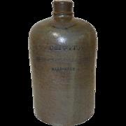 19th C. Baltimore Stoneware Vendor's Whiskey Jug C H Otto