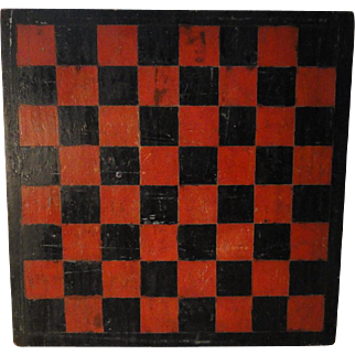 1900's Original Painted Wooden Checkerboard