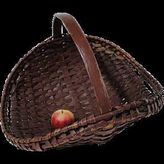 Rare 19th C. Splint Oak Flower Gathering Basket in Old Paint