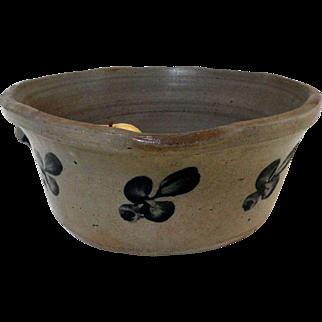 19th C. Baltimore Blue Decorated Stoneware Milk Pan