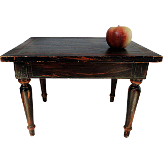 Small 19th C. Doll or Child's Table or Riser in Original Paint