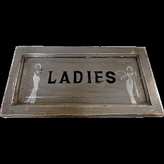 1920's Deco Wooden Ladies Room Sign