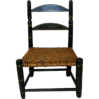 19th C. Ladderback Doll Chair in Original Paint Decoration