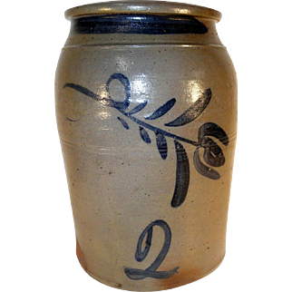 19th C. Greensboro Pennsylvania 2 Gal. Stoneware Crock with Freehand Blue Decoration