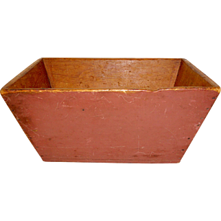 19th C. Primitive Country Grain Box in Old Red Paint