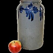 Beautiful 19th C. Blue Decorated Stoneware Tall Crock
