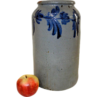 Beautiful 19th C. Blue Decorated Stoneware Tall Crock