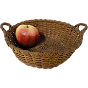 Small Two-Handled Splint Oak Basket circa 1900