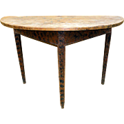 19th C. Paint Decorated New England Demi-Lune Table