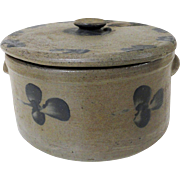 19th C. Baltimore Stoneware Cake Crock with Lid