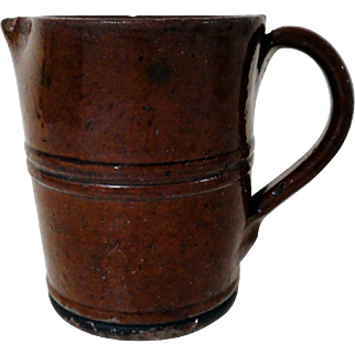 Unusual Ribbed 19th C. PA Redware Pitcher