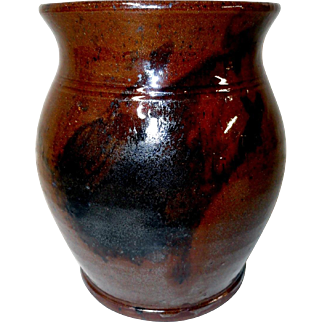 "19th C. Pennsylvania 6"" Redware Crock"