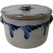 "Signed ""RCR"" Remmey Philadelphia Blue Decorated Stoneware Cake Crock w/ Lid"