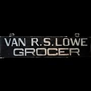 """Wooden NJ Grocer's Trade Sign """"Van R. S. Lowe"""""""