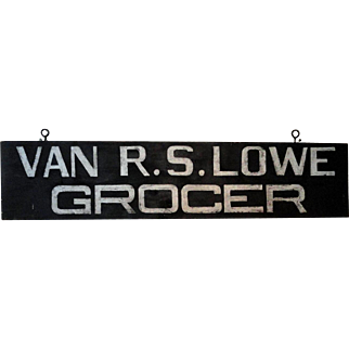 "Wooden NJ Grocer's Trade Sign ""Van R. S. Lowe"""