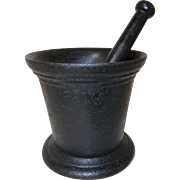Early 19th C. Cast Iron Mortar and Pestle in Old Black Paint