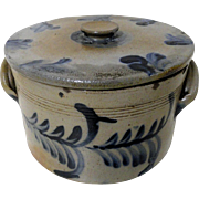 19th C. PA Blue Decorated Stoneware Cake Crock w/ Lid