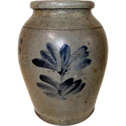 19th C. 1/2 Gal. Blue Decorated Philadelphia Stoneware Crock