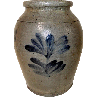 19th C. 1/2 Gal. Blue Decorated Philadelphia Stoneware Crock
