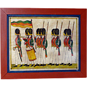 Vibrant  Late 20th C. Watercolor of Soldiers by GB French