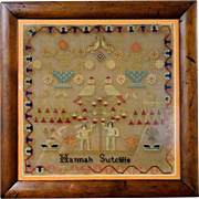 1850's Wool and Linen Needlework Sampler Hannah Sutcliffe