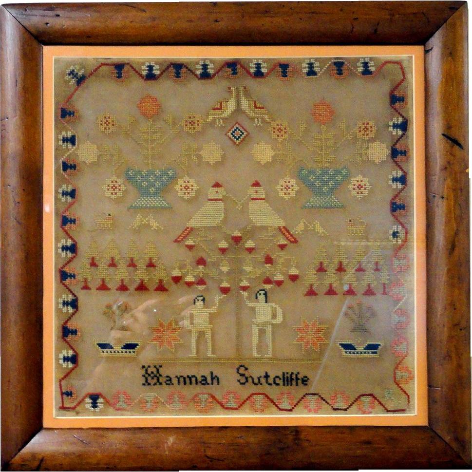1850's Wool and Linen Needlework Sampler Hannah Sutcliffe