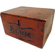 19th C. Alum Stenciled Apothecary Box in Original Red Paint