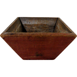 19th C. Canted Box in Original Red Paint