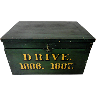 19th C. Document Box from Maine Logging Co. in Original Paint