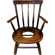 Exceptional New England Child's Windsor Potty Chair c. 1820