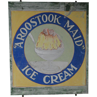 Fabulous 1920's Ice Cream Sign from Maine