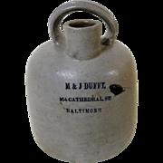 Very Rare 1/2 Gallon Baltimore Stoneware Jug w/ Rainbow Handle