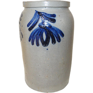 Early Blue Decorated Stoneware Jar