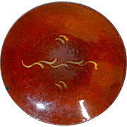 """19th C. 11"""" Redware Charger with Slip Decoration"""