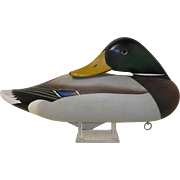 Signed Charlie Joiner Mallard Drake Sleeper Duck Decoy Chestertown, MD